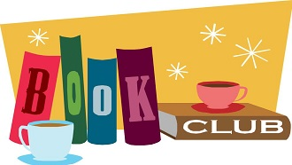 Book Club graphic with books and coffee mugs