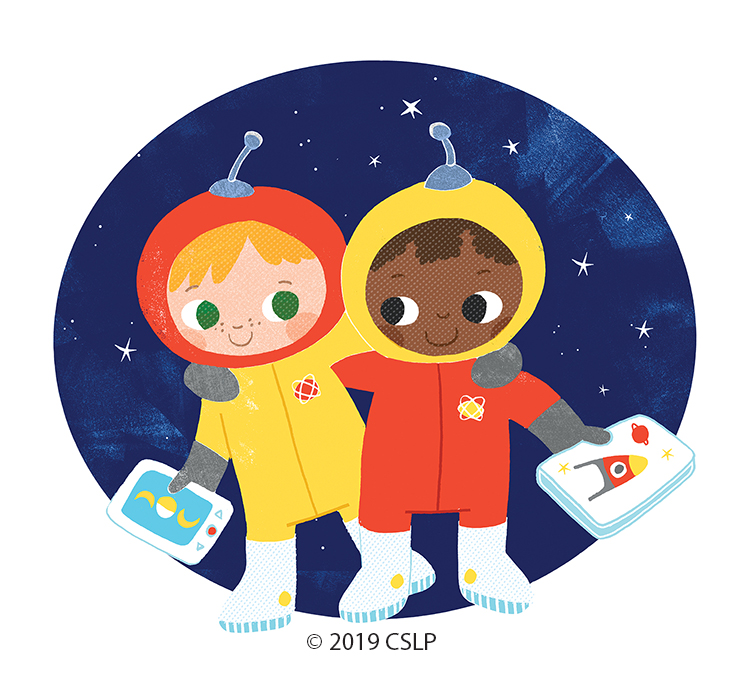 Two children as astronauts with books