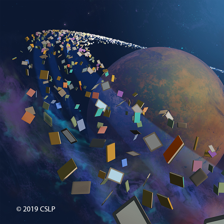 planet surrounded by a ring of books
