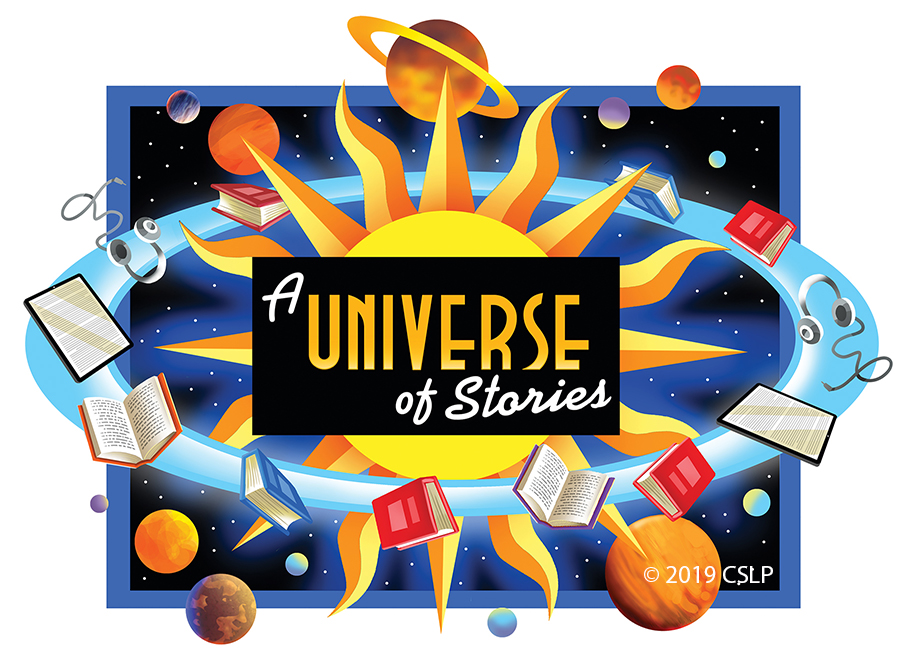 A Universe of Stories Theme graphic with planets and books